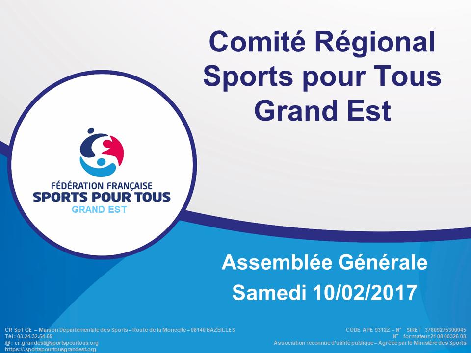 1ère Assemblée Générale du Comité Régional Sports pour Tous Grand Est
